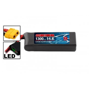 Аккумулятор Li-Po 14,8В(4S) 1300mah 55C SoftCase XT60 Racing Drone Battery - ORI60244