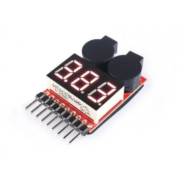 Индикатор напряжения + индикторо разряда Lipo 8S - EV-ALRM