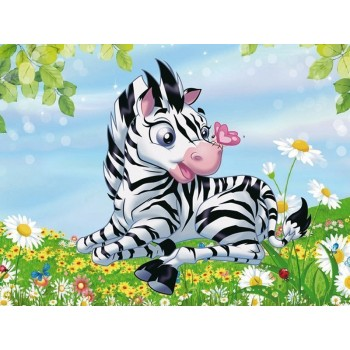 Алмазная мозаика 15х20 Маленькая зебра (13 цветов)