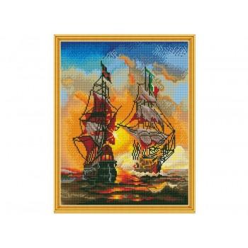 Алмазная мозаика с нанесенной рамкой 40х50 МОРСКОЙ БОЙ (36 цветов)