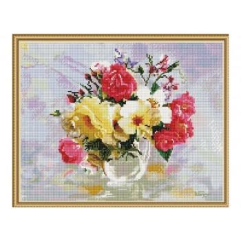 Алмазная мозаика с нанесенной рамкой 40х50 БУЗИН. РОЗЫ В КУВШИНЧИКЕ (36 цветов)