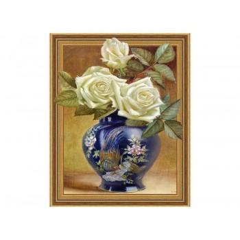 Алмазная мозаика 3D с нанесенной рамкой 40х50 БУЗИН. РОЗЫ В ВОСТОЧНОЙ ВАЗЕ (30 цветов)