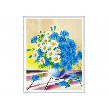 Алмазная мозаика с нанесенной рамкой 40х50 ПОЛЕВОЙ БУКЕТ (32 цвета)