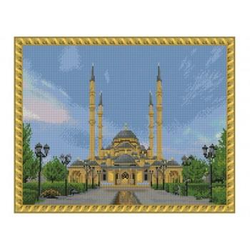 Алмазная мозаика с нанесенной рамкой 40х50 СЕРДЦЕ ЧЕЧНИ (25 цветов)