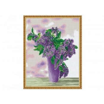 Алмазная мозаика с нанесенной рамкой 40х50 СИРЕНЕВЫЙ БУКЕТ (18 цветов)
