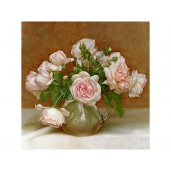 Алмазная мозаика 30х30 БУЗИН. РОЗОВАЯ СИМФОНИЯ (26 цветов)