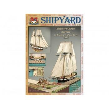 Сборная модель Shipyard балтиморский клипер Berbice в верфи Quay-Portt. 1780 г (№38), масштаб 1:96 - MK009