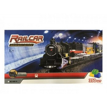 Железная дорога HQ 350 деталей, с локомотивом на батарейках, вагоны черный и черный