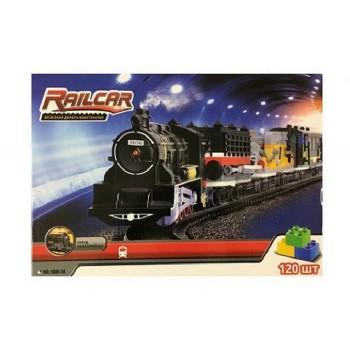 Железная дорога HQ 120 деталей, с локомотивом на батарейках, черный вагон