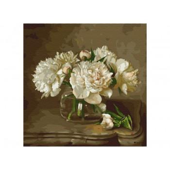 Картина по номерам 30х30 Бузин. Белые пионы на столике (20 цветов)