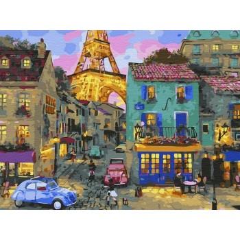 Картина по номерам с цветной схемой на холсте 30х40 Уютный вечер (24 цвета)