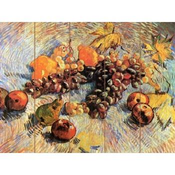 Картина по номерам на дереве 40х50 Натюрморт с яблоками и виноградом (29 красок)