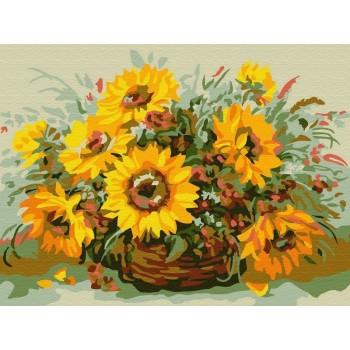 Картина по номерам 15х20 СОЛНЕЧНЫЙ БУКЕТ (11 цветов)