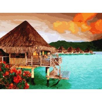 Картина по номерам 40х50 о.Бора Бора (30 цветов)