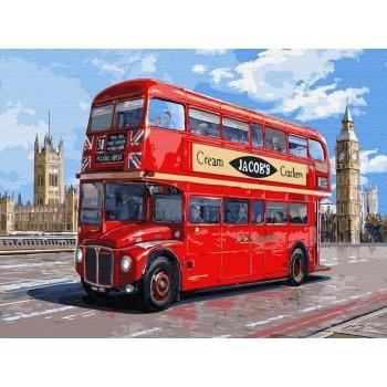 Картина по номерам с цветной схемой на холсте 30х40 Автобус лондона (21 цвет)