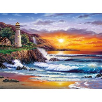 Картина по номерам с цветной схемой на холсте 30х40 Красивый закат (19 цветов)