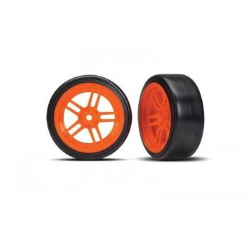 Колеса для дрифта в сбореSplit-spoke orange wheels + 1.9* Drift tires (передние) - TRA8376A