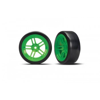 Колеса дрифтовые в сбореSplit-spoke green wheels + 1.9* Drift tires (передние) - TRA8376G