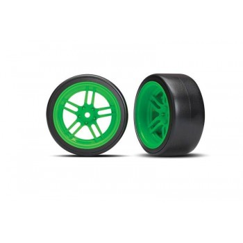 Колеса для дрифта в сбореSplit-spoke green wheels + 1.9* Drift tires (задние) - TRA8377G