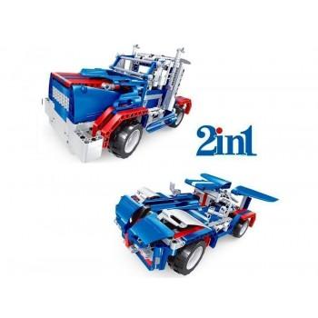 Р/У конструктор Qihui Mechanical Master 2 в 1 Тягач и Спорткар (455 деталей)
