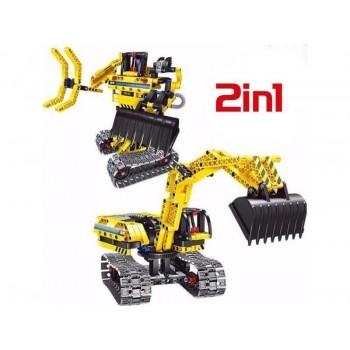 Конструктор Qihui Mechanical Master 2 в 1 Экскаватор и Робот (342 детали)