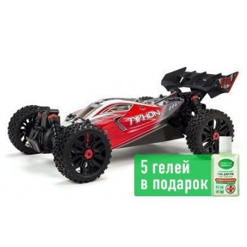 Багги ARRMA 1:8 TYPHON 3S BLX 4WD Brushless Buggy with Spektrum RTR, Red