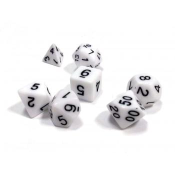 Набор ZVEZDA из 7 белых игровых кубиков для ролевых игр, 7 шт