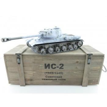 Радиоуправдяемый танк Taigen ИС-2 модель 1944, СССР, зимний, (для ИК танкового боя), деревянная коробка RTR масштаб 1:16 2.4G - TG3928-1S-IR-BOX