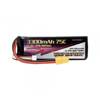 Аккумулятор LiPo Vant - 7.4В 3300мАч 75C 2S (Разъем XT60)